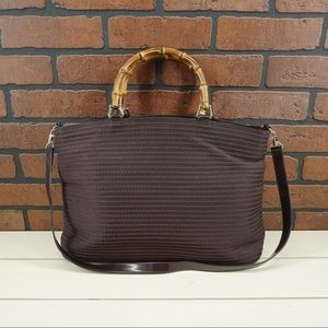 GUCCI Vintage Canvas Leather Bamboo Handle Tote